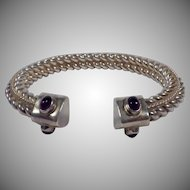 Vintage Signed Sterling Silver and Amethyst Cuff Bracelet