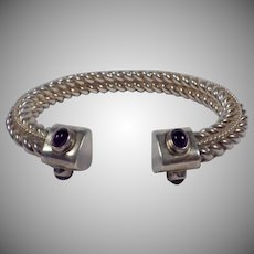 Vintage Signed Sterling Silver and Amethyst Cuff Bracelet