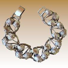 Vintage Signed Bartek Mid Century Sterling Silver Maple Leaf Bracelet