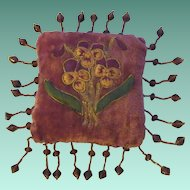 Antique Velvet Pin Cushion with Embroidered Flowers & Beads