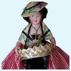 Lovely Vintage French Flower Seller Doll