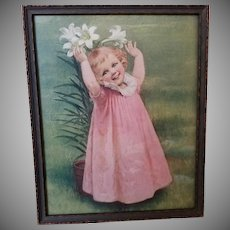 Vintage Framed Color Print - Girl with Lilies