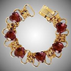 Vintage Book Chain and Heart Rhinestone Bracelet