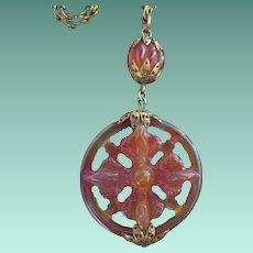 Vintage Carnelian Agate Flower Wheel Pendant Necklace