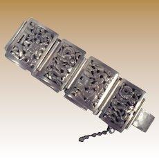 Vintage Signed Indochina Sterling Silver Panel Bracelet