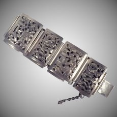 Vintage Signed Indochina Sterling Silver Panel Bracelet