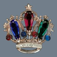 Vintage Sterling Silver and Glass Stones Crown Brooch