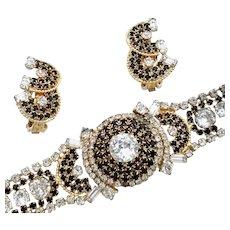 Vintage Signed Hobe Demi Parure - Bracelet and Earrings
