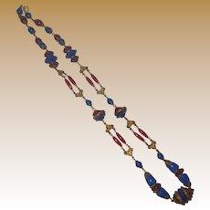 Vintage Carnelian and Lapis Glass Necklace