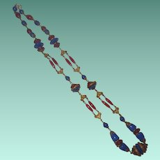 Vintage Carnelian and Lapis Glass Necklace