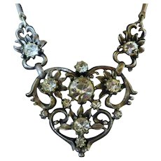 Vintage Signed Coro Silver Tone and Rhinestone Necklace