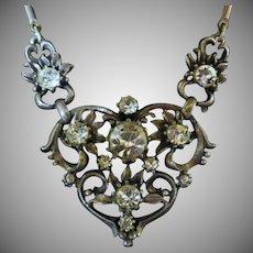 Vintage Signed Coro Silver Tone & Rhinestone Necklace
