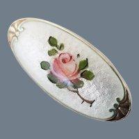 Vintage Art Nouveau Guilloche Enamel and Silver Brooch