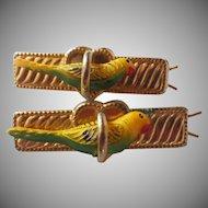 Vintage Pair of Parrot Bird Barrettes