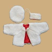 Vintage Three-Piece Set Faux Fur Doll Outfit