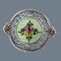 Vintage Signed Sterling Silver and Guilloche Enamel Brooch