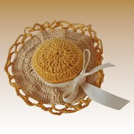 Vintage Hand Crocheted Sun Hat Pin & Needle Cushion