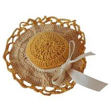 Vintage Hand Crocheted Sun Hat Pin & Needle Cushion