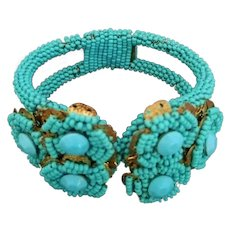 Vintage Early Miriam Haskell Seed Bead Clamper Bracelet