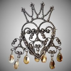 Vintage 830 Silver Solje Wedding Brooch