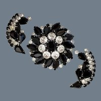 """Vintage Signed """"WEISS"""" Black and Clear Demi Parure"""