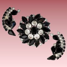 "Vintage Signed ""WEISS"" Black and Clear Demi Parure"