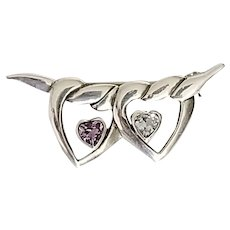 Vintage Signed Sterling Silver Double Heart Brooch