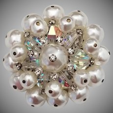 Vintage Faux Pearl Wired Brooch