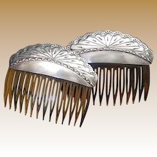 Vintage Pair Sterling Silver and Faux Tortoise Shell Hair Combs