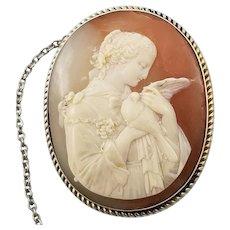 Antique Fair Maiden and Dove Shell Cameo