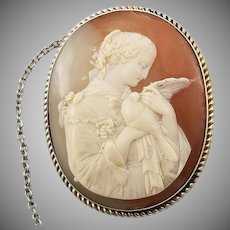 Antique Fair Maiden and Dove Shell Cameo