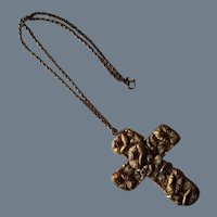 Vintage Hand-Hewn Flower Cross Pendant Necklace
