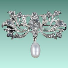 Antique Sterling Silver and Rock Crystal Brooch