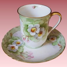 Vintage Hand Painted Hutschenreuther Bavarian Chocolate Cup & Saucer