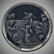 Vintage Angel Cherub Picture Story Button