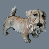 Vintage Signed Schnauzer Dog Figurine by Guido Cacciapuoti Italian Porcelain Artist (1892-1953)