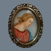 Vintage Silver and Hand Painted Madonna Brooch or Pendant