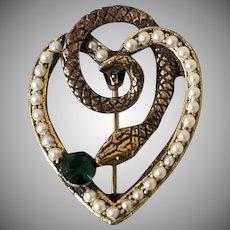 Vintage Snake Heart Brooch