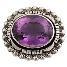 Outstanding Vintage Carol Feeley Sterling Silver and Amethyst Pendant
