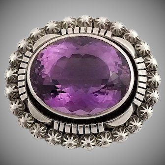 Outstanding Vintage Carol Feeley Sterling Silver and Amethyst Pendent