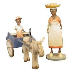Vintage Black Americana Folk Art Wooden Figures