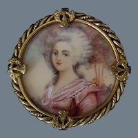 SALE! Vintage Hand Painted and Signed Portrait Brooch