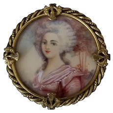 Vintage Hand Painted and Signed Portrait Brooch
