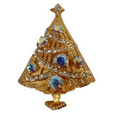 Vintage Signed Eisenberg Ice Christmas Tree Brooch