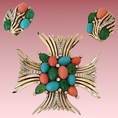 Vintage Signed Trifari Jewels of India Demi Parure