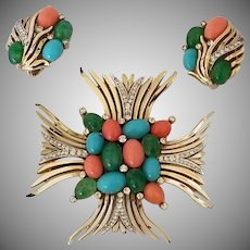Vintage Signed Trifari Jewels of India Demi Parure