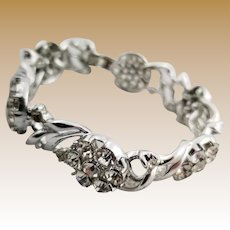 Vintage Silver Tone and Rhinestone Link Bracelet