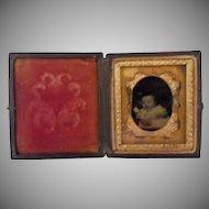 Antique Papier Mache Case with Infant Photo