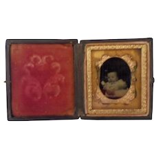 Antique Papier Mache Case with Infant Photo