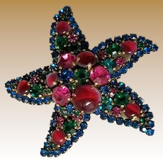 Vintage Signed WEISS Starfish Brooch